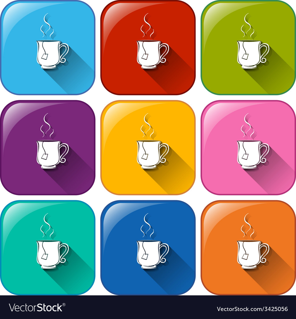 Colourful rounded buttons with cups of tea vector | Price: 1 Credit (USD $1)