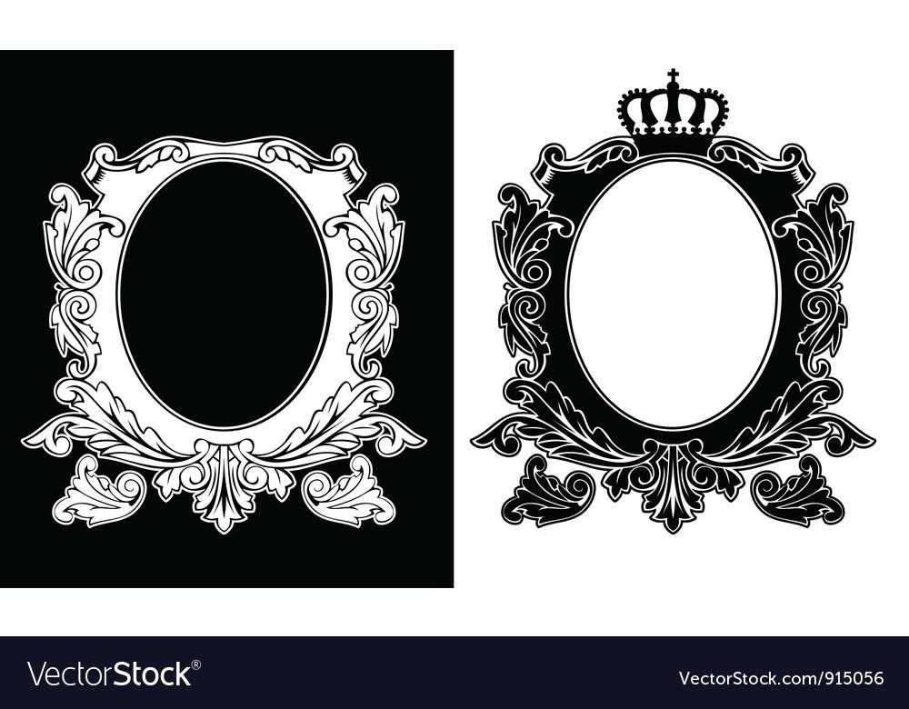Duo of one color royal oval frames vector | Price: 1 Credit (USD $1)