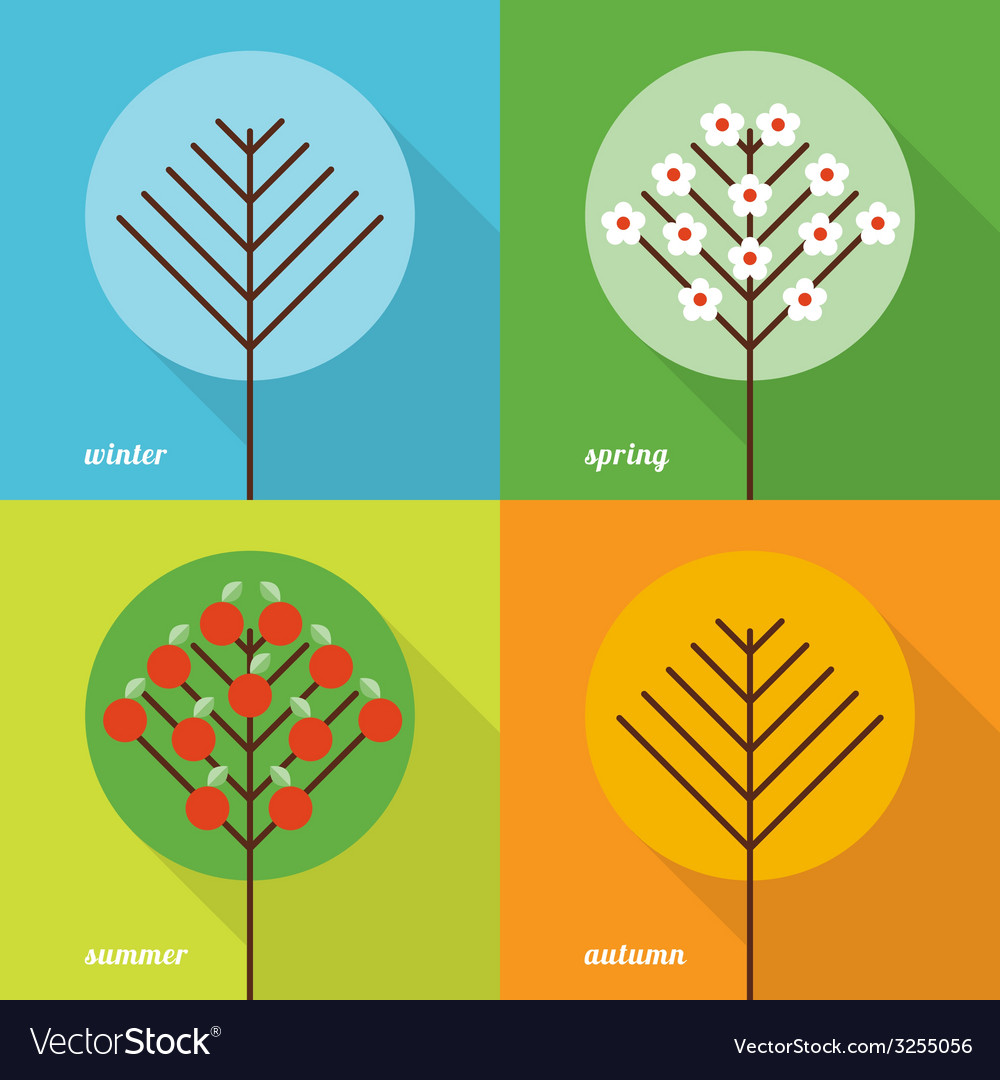 Four seasons icons vector | Price: 1 Credit (USD $1)