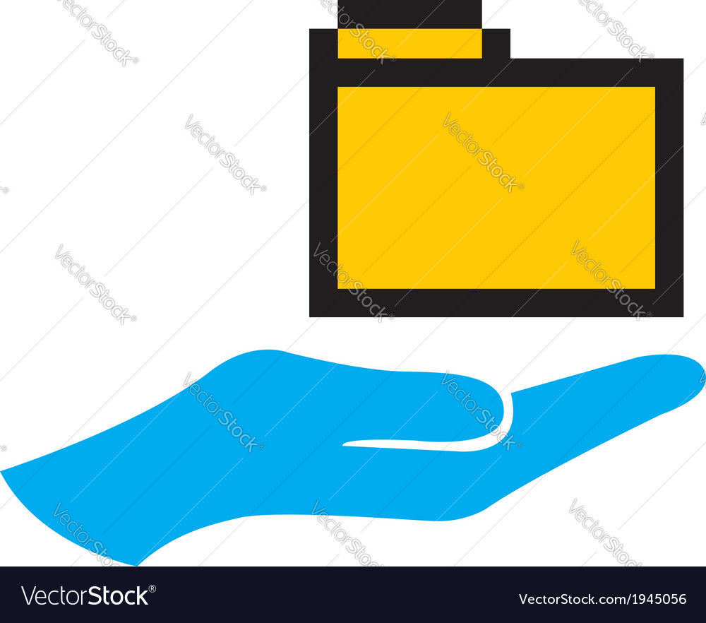 Hand and folder icon vector | Price: 1 Credit (USD $1)