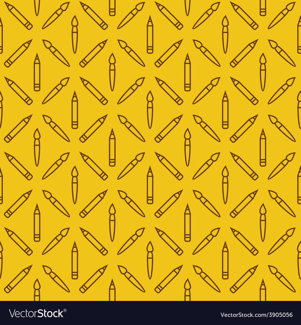 Linear art tools flat yellow seamless pattern vector | Price: 1 Credit (USD $1)