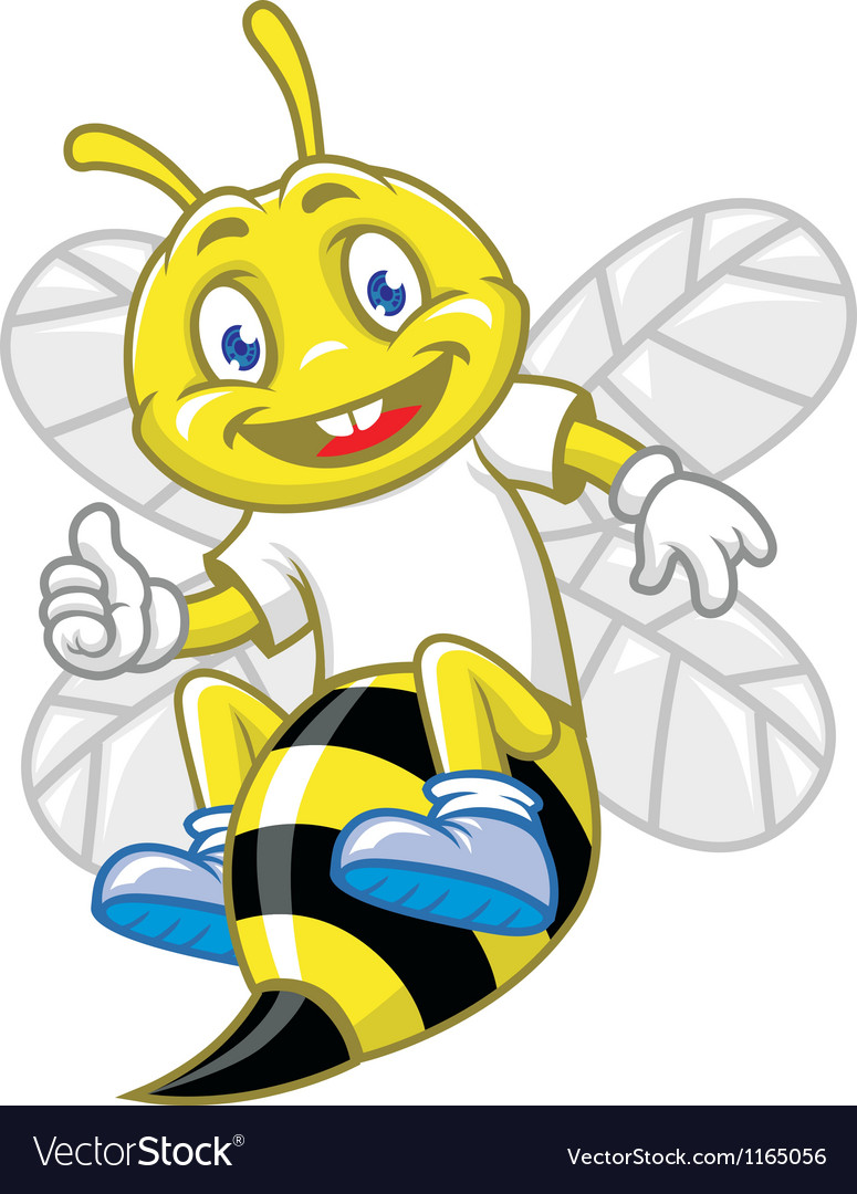 Little bee pose with thumb up vector | Price: 3 Credit (USD $3)