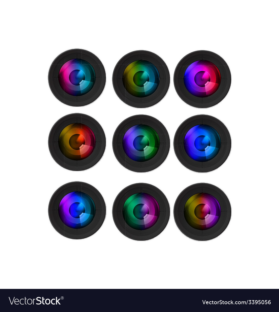 Multi colored camera lenses vector | Price: 1 Credit (USD $1)