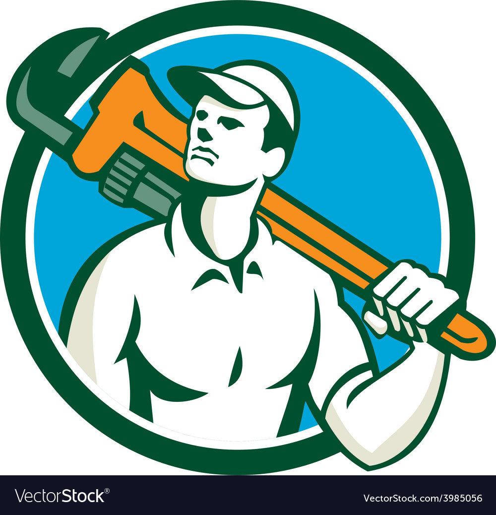 Plumber holding wrench circle retro vector   Price: 1 Credit (USD $1)