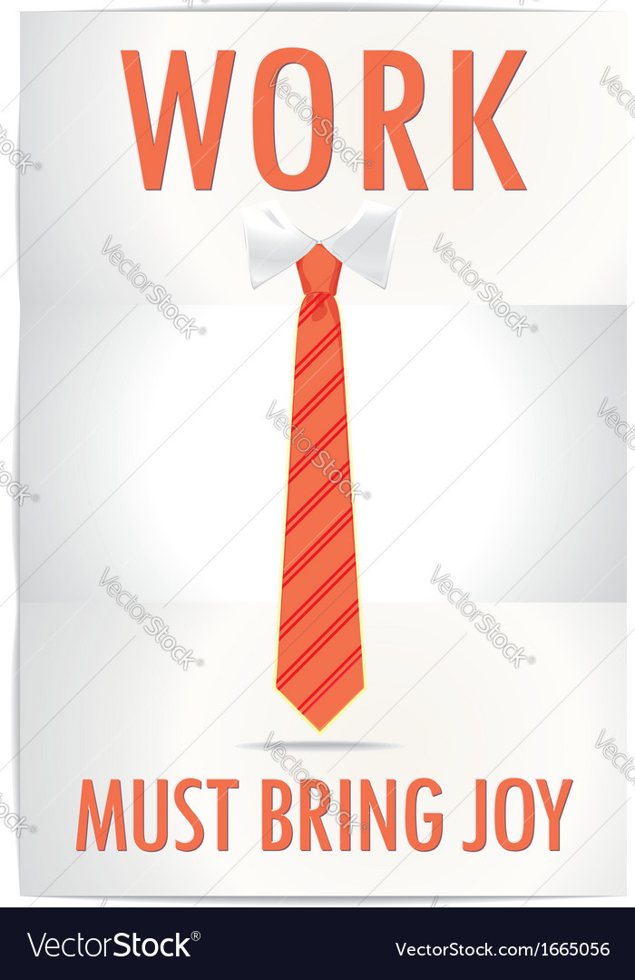 Poster job must bring joy with cheerful orange tie vector | Price: 1 Credit (USD $1)