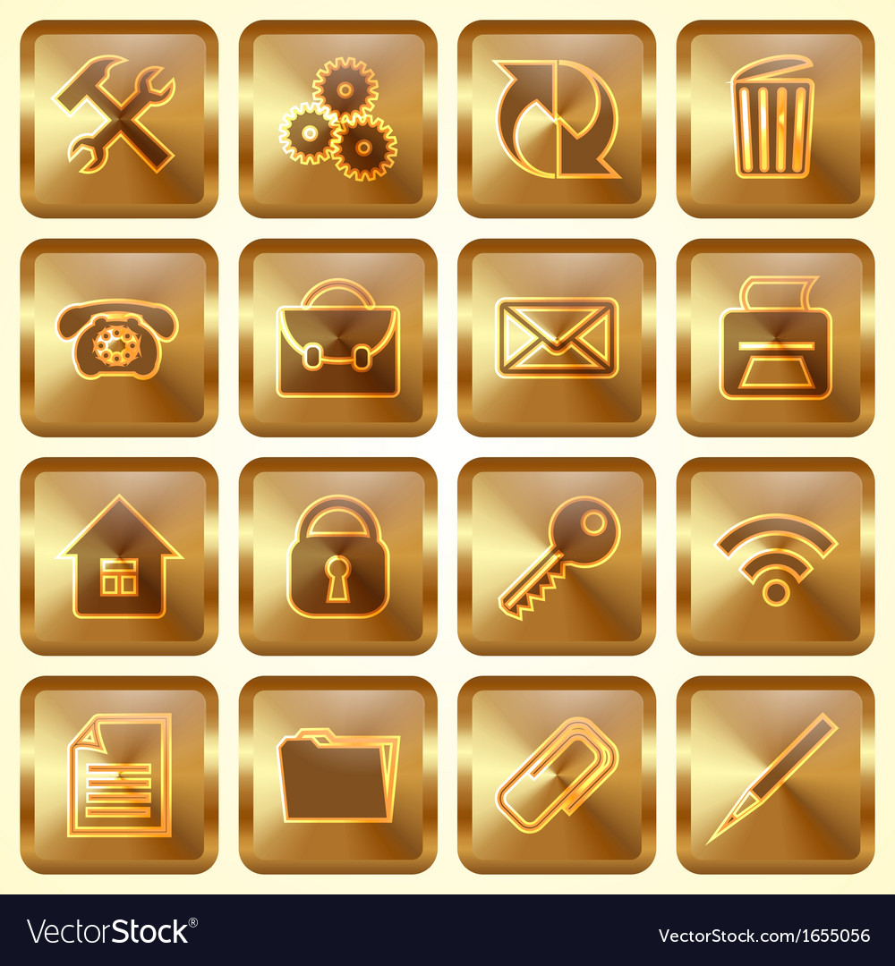 Set of golden square buttons vector | Price: 1 Credit (USD $1)
