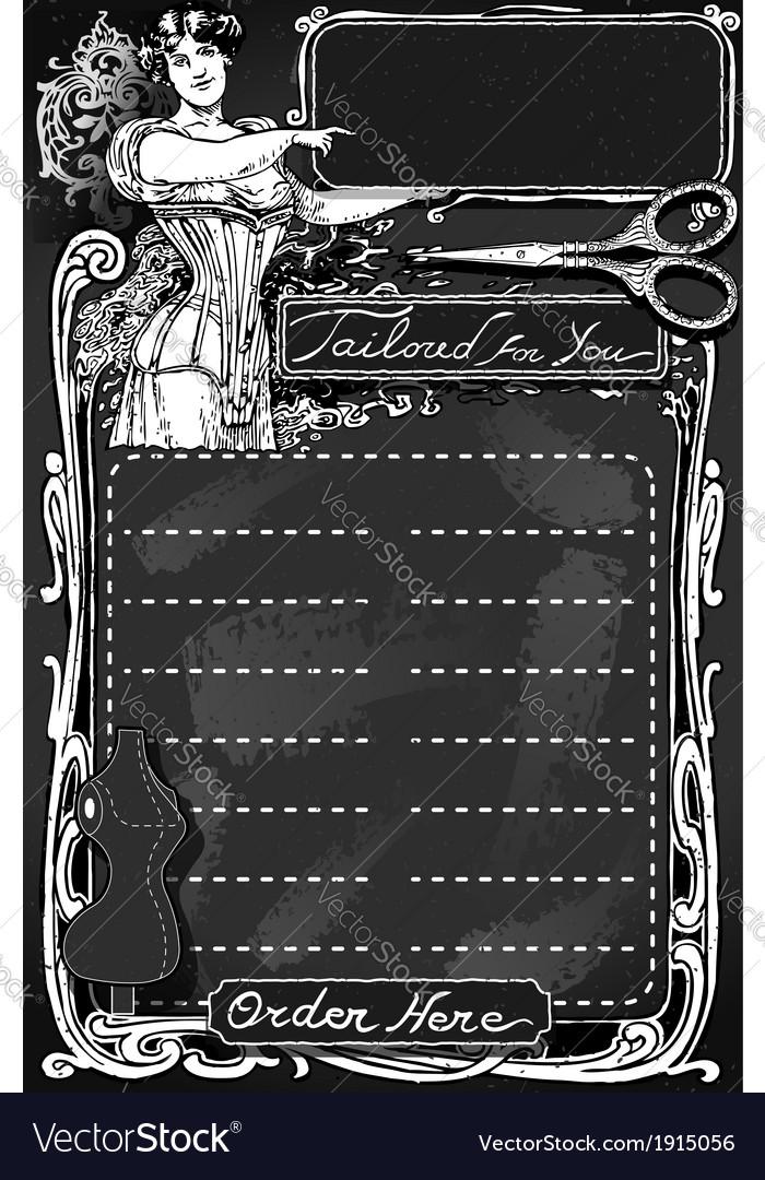 Vintage blackboard for tailor shop vector   Price: 1 Credit (USD $1)