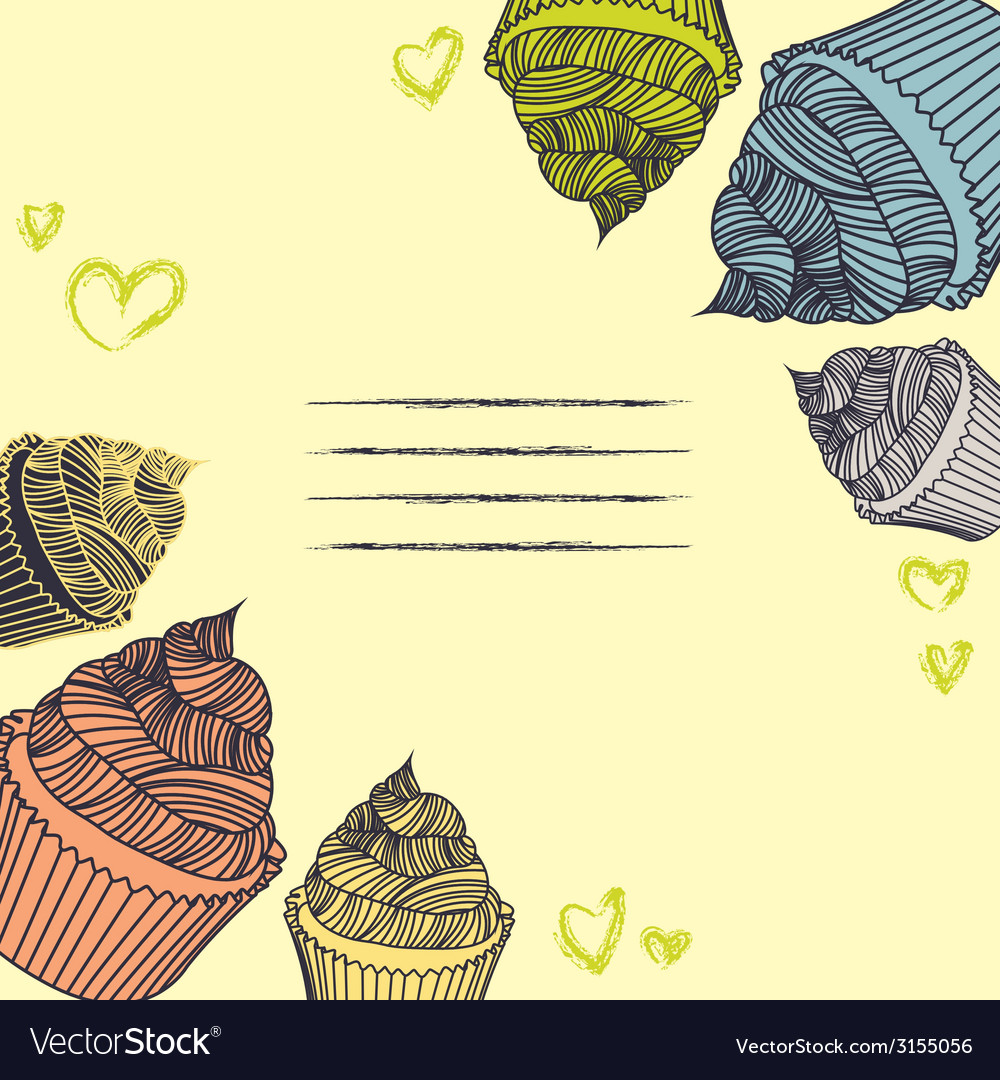 Vintage cupcake card cupcakes hand-drawn with vector | Price: 1 Credit (USD $1)