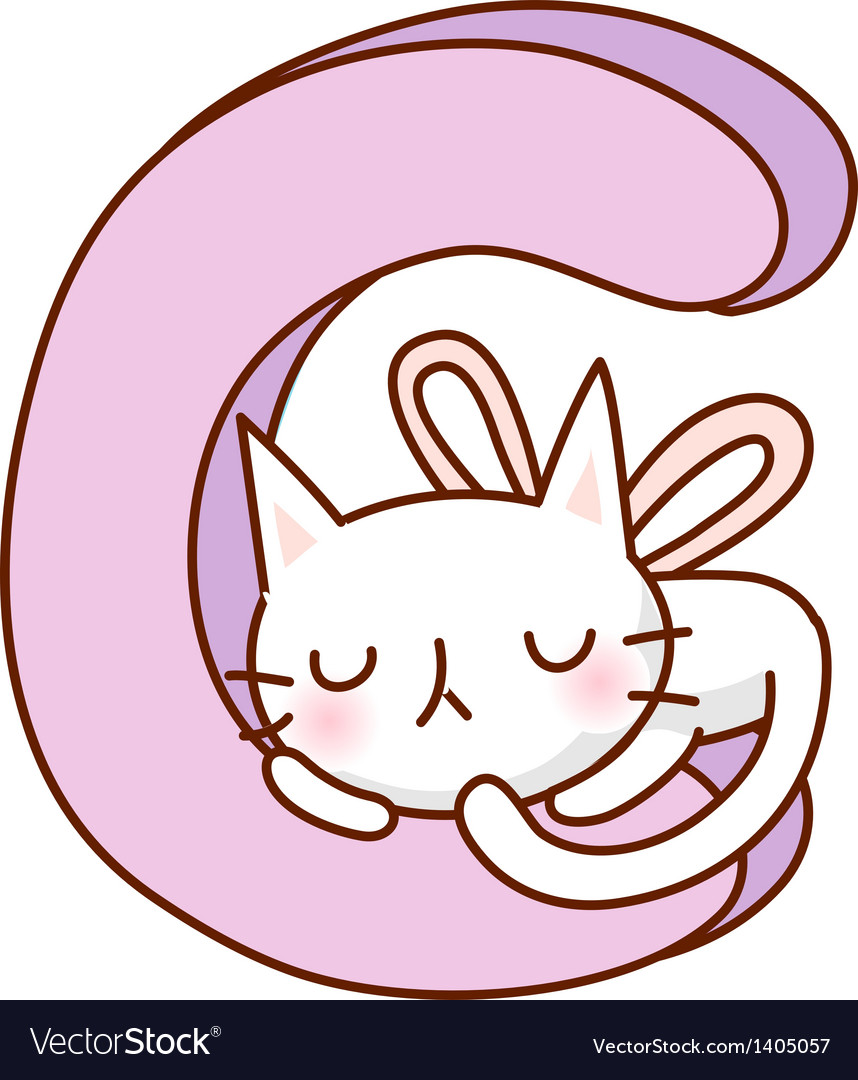 A cat is sleeping on alphabet vector | Price: 1 Credit (USD $1)