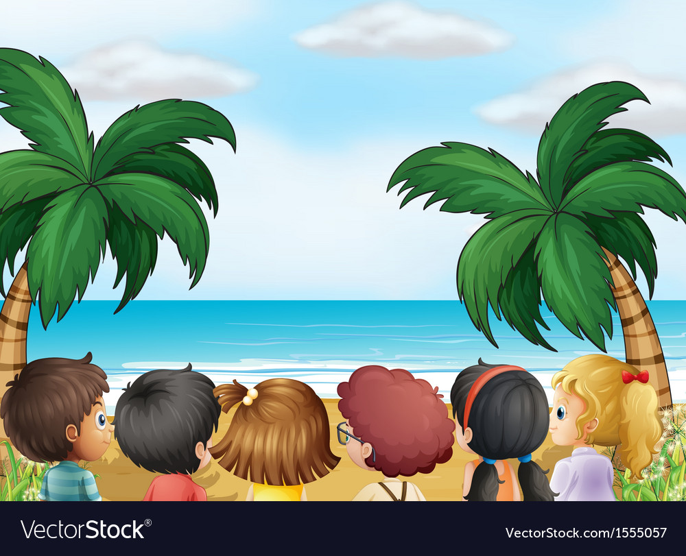 A group of kids at the beach vector | Price: 1 Credit (USD $1)
