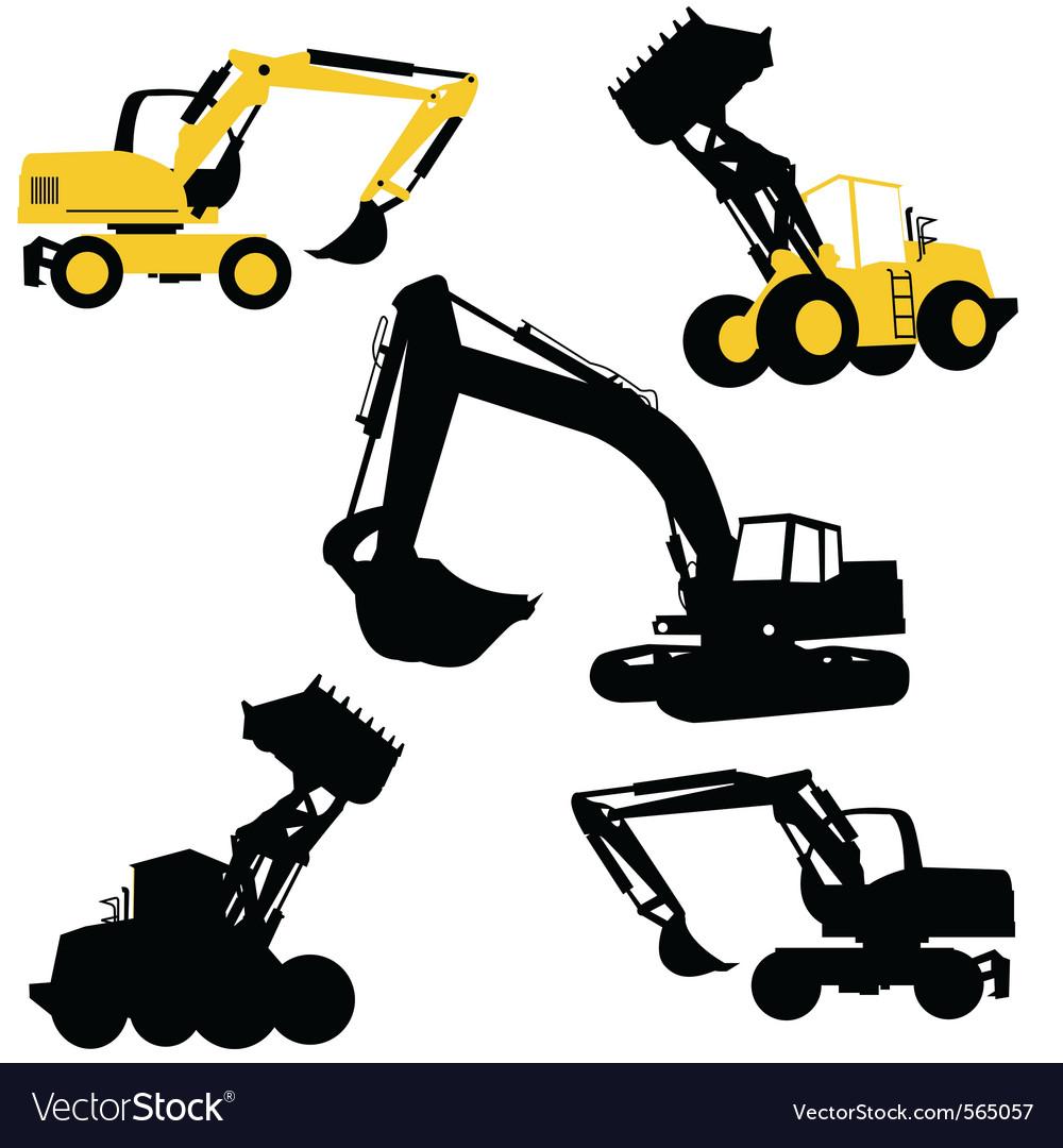 Bulldozers construction vector | Price: 1 Credit (USD $1)