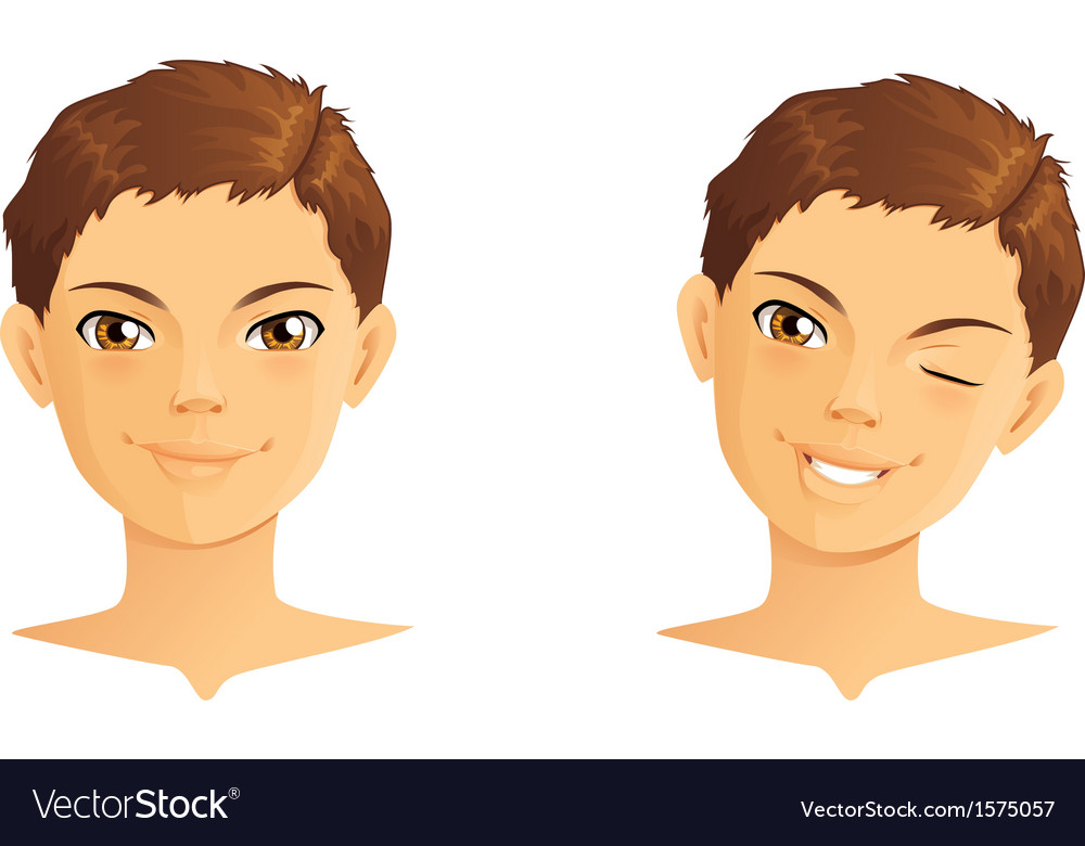 Cute boy winking and smiling vector | Price: 1 Credit (USD $1)