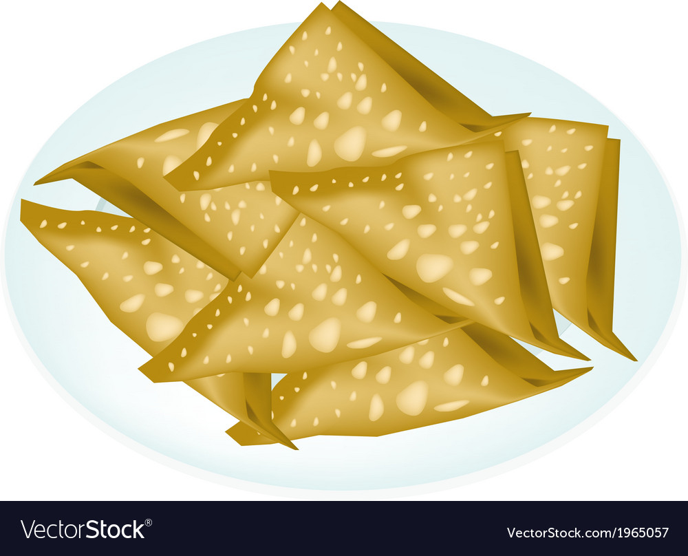 Deep fried wonton in a white plate vector | Price: 1 Credit (USD $1)