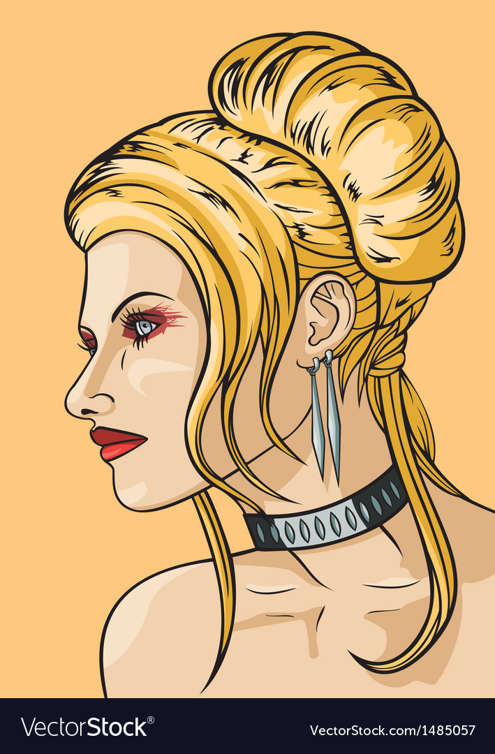 Girl with hairdress in the babetta style vector   Price: 3 Credit (USD $3)
