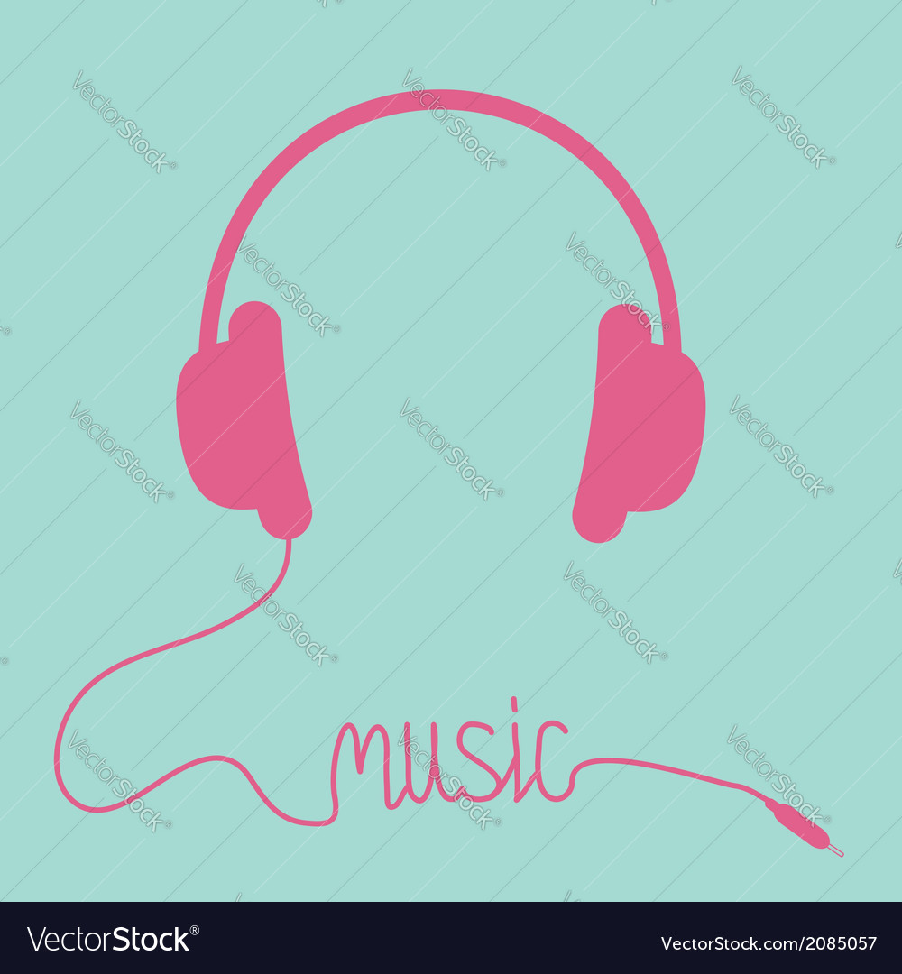Pink headphones with cord in shape of word music vector | Price: 1 Credit (USD $1)
