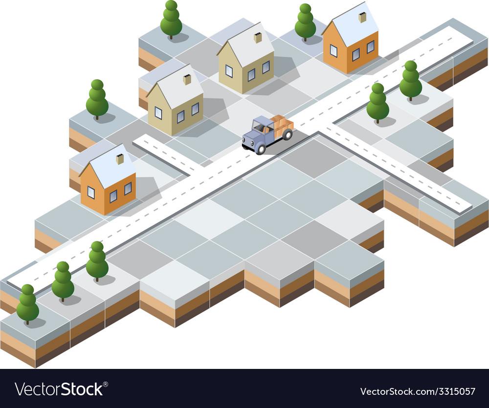 Snowy village vector | Price: 1 Credit (USD $1)