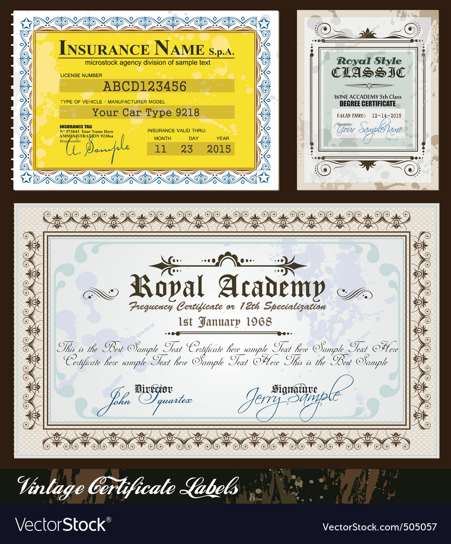 Vintage certificates vector | Price: 1 Credit (USD $1)