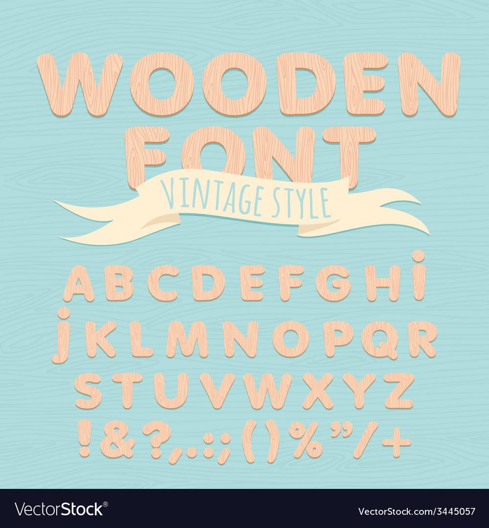 Vintage wooden alphabet flat style vector   Price: 1 Credit (USD $1)