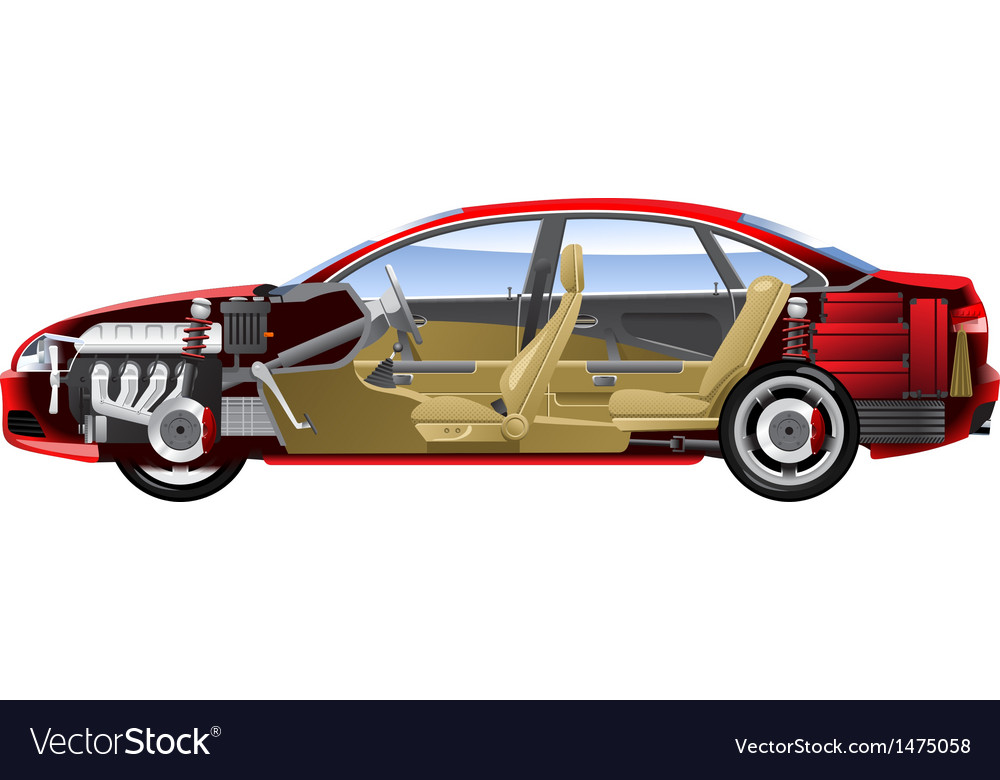 Cut away car vector