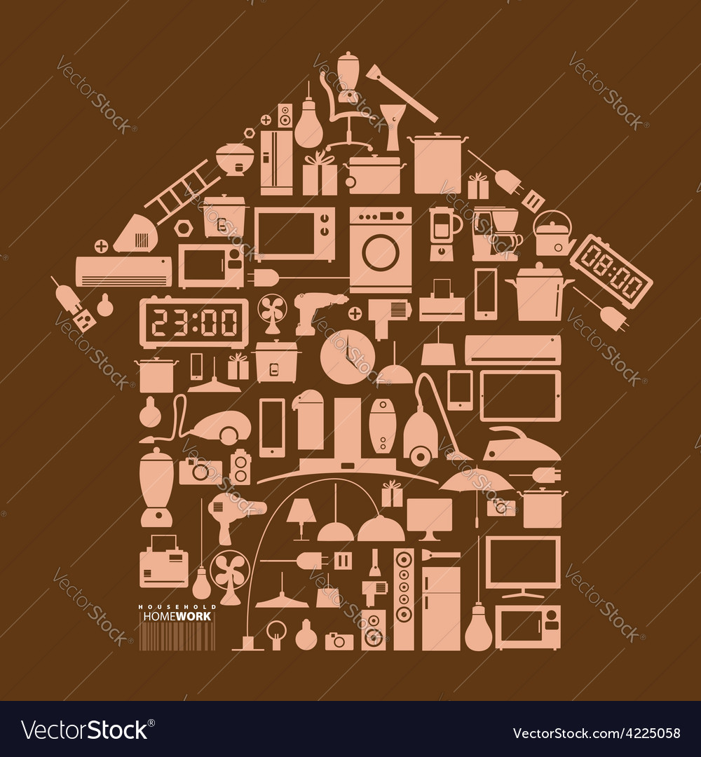 Design element household in home shape vector | Price: 1 Credit (USD $1)