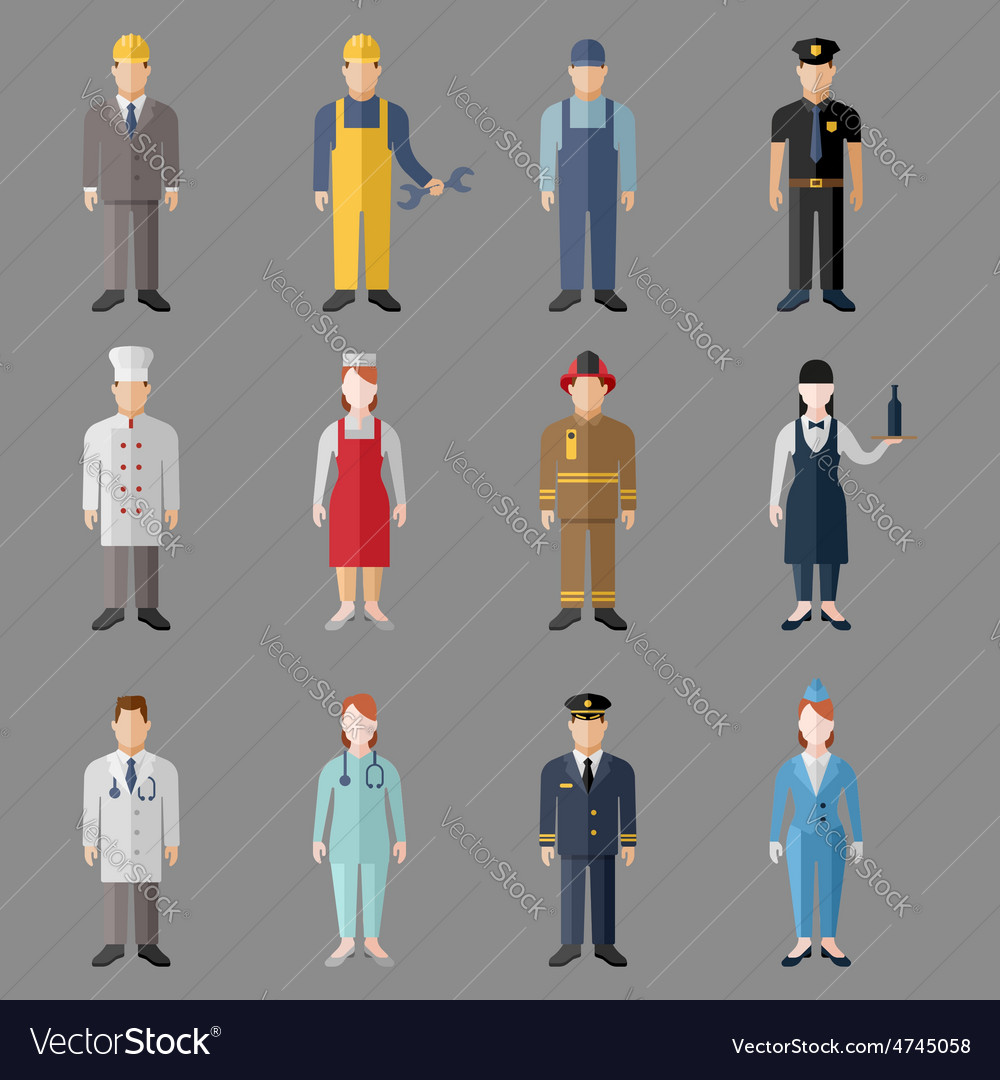 Different people professions characters set vector   Price: 1 Credit (USD $1)