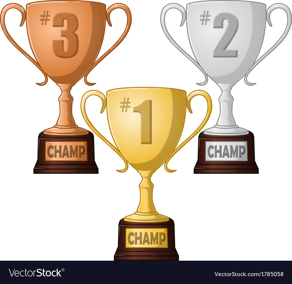 First second anfirst second and third place trophy vector | Price: 1 Credit (USD $1)