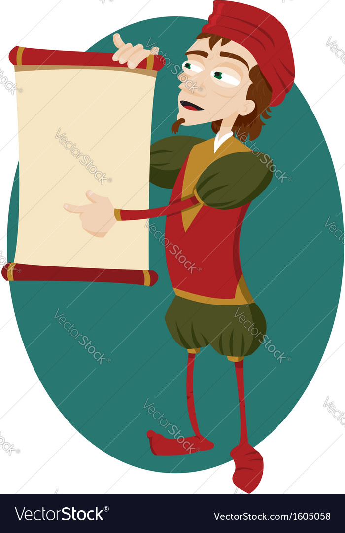 Funny herald showing a blank scroll vector | Price: 1 Credit (USD $1)