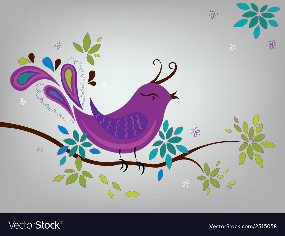 Little violet bird vector | Price: 1 Credit (USD $1)