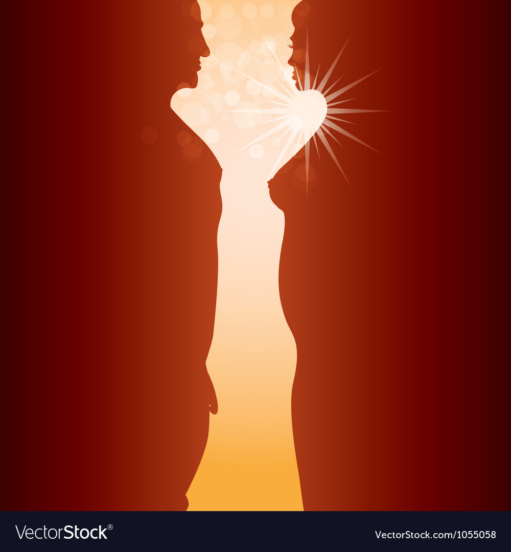 Man woman and sunrise vector | Price: 1 Credit (USD $1)
