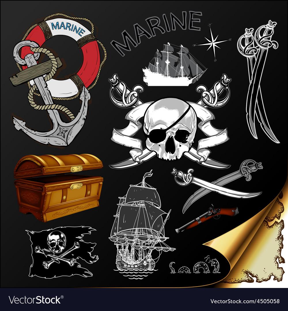 Marine theme icons set vector | Price: 3 Credit (USD $3)