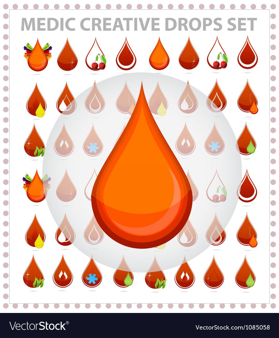 Medic creative blood drops symbols and sign vector | Price: 1 Credit (USD $1)