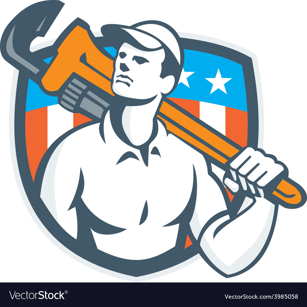 Plumber holding wrench usa flag retro vector   Price: 1 Credit (USD $1)