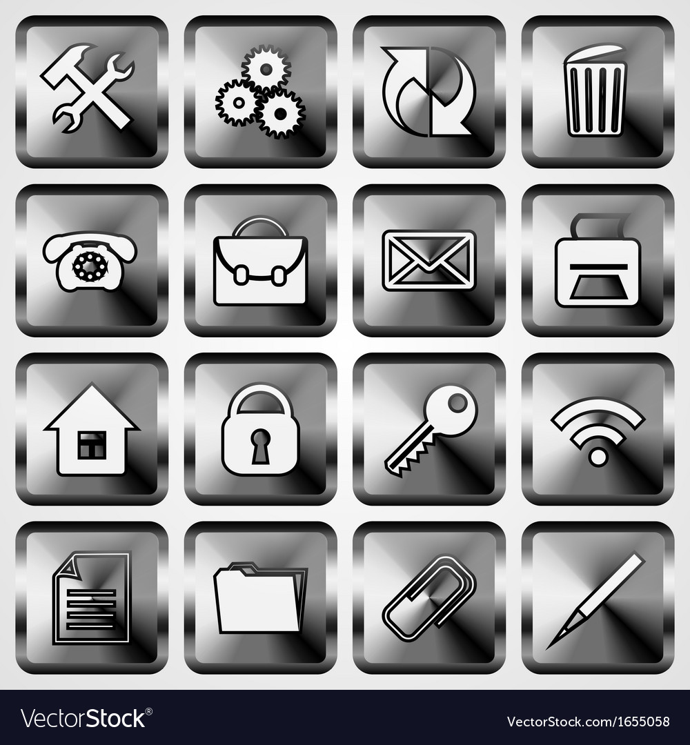 Set of metallic square buttons vector | Price: 1 Credit (USD $1)