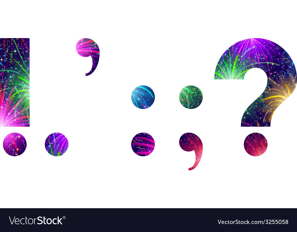 Set of punctuation signs firework vector | Price: 1 Credit (USD $1)