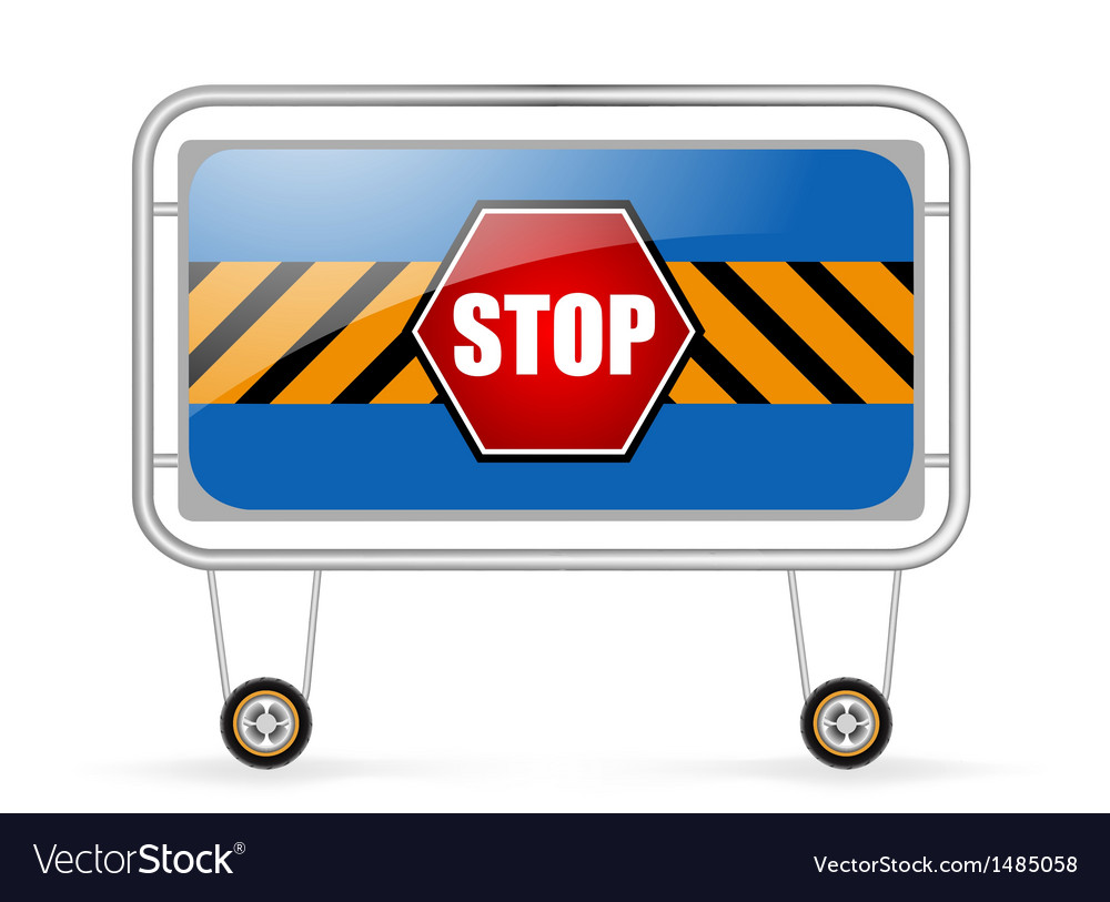 Traffic barrier stop sign on a white background vector | Price: 1 Credit (USD $1)