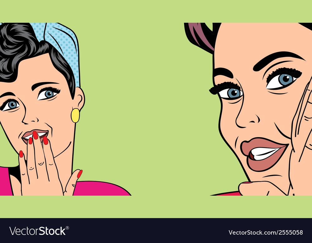 Two pop art girlfriends talking comic art vector | Price: 1 Credit (USD $1)