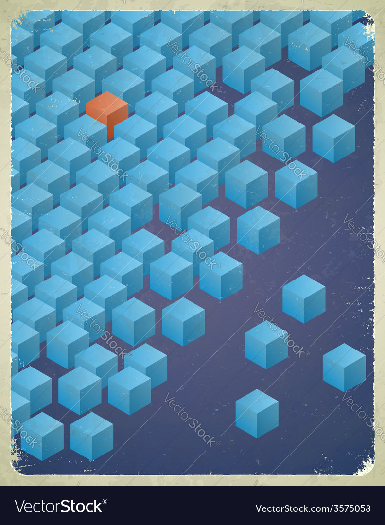 Vintage messy cubes card vector | Price: 1 Credit (USD $1)