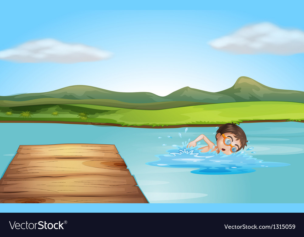 A boy swimming near the diving board vector | Price: 1 Credit (USD $1)
