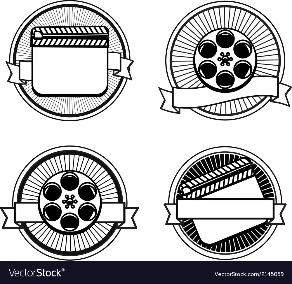 Black and white movie stamps icons vector | Price: 1 Credit (USD $1)