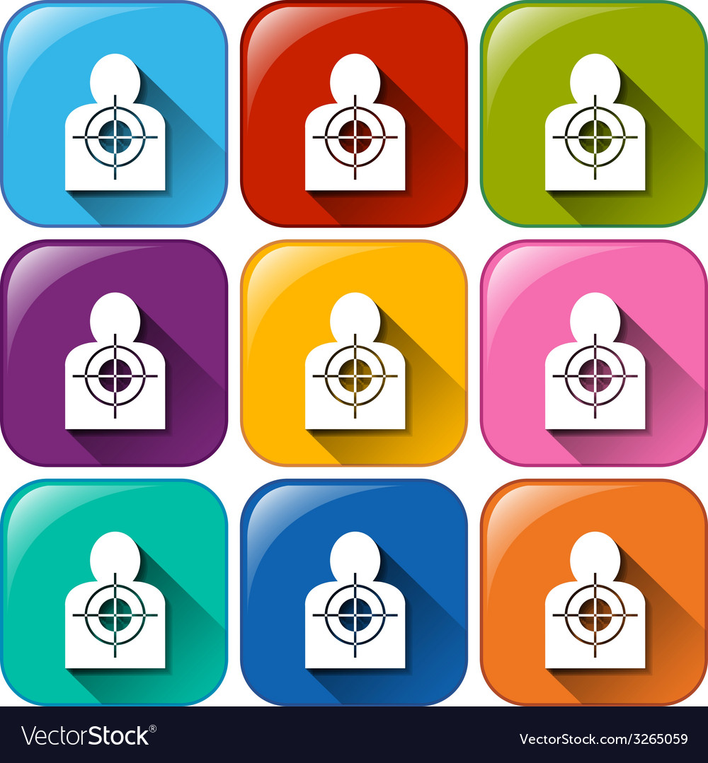 Buttons with target icons vector | Price: 1 Credit (USD $1)