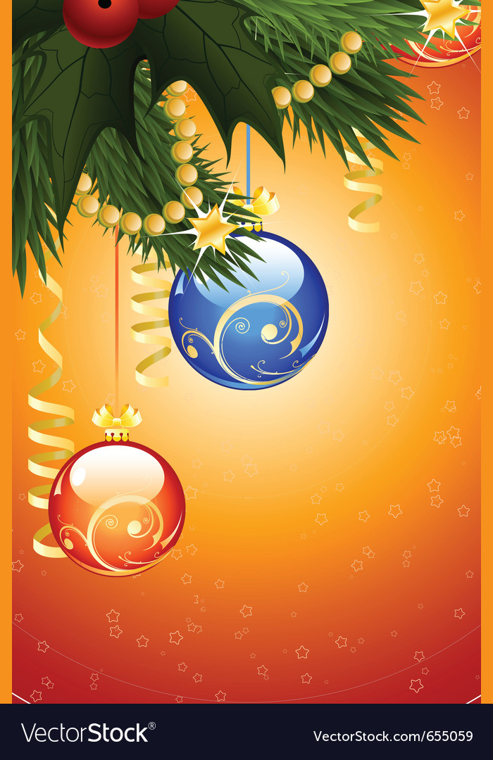 Christmas card with fir-tree mistletoe vector | Price: 1 Credit (USD $1)