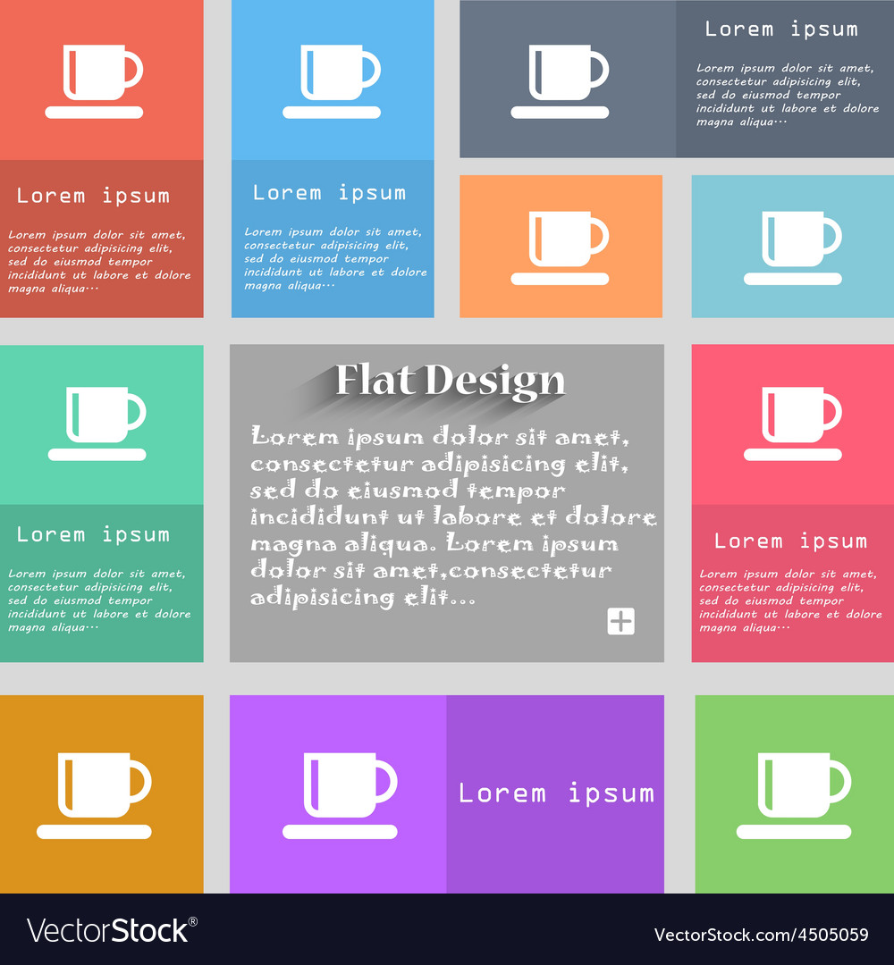 Coffee cup icon sign set of multicolored buttons vector | Price: 1 Credit (USD $1)