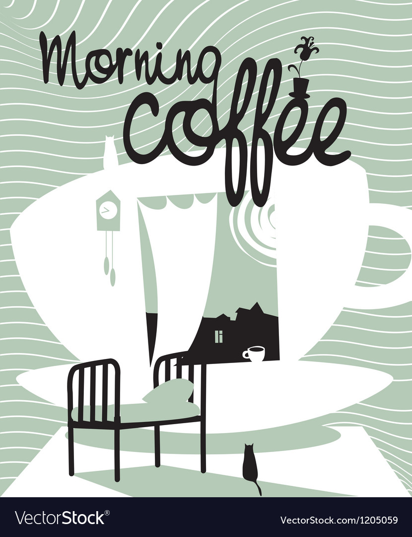Coffee with a window vector | Price: 1 Credit (USD $1)