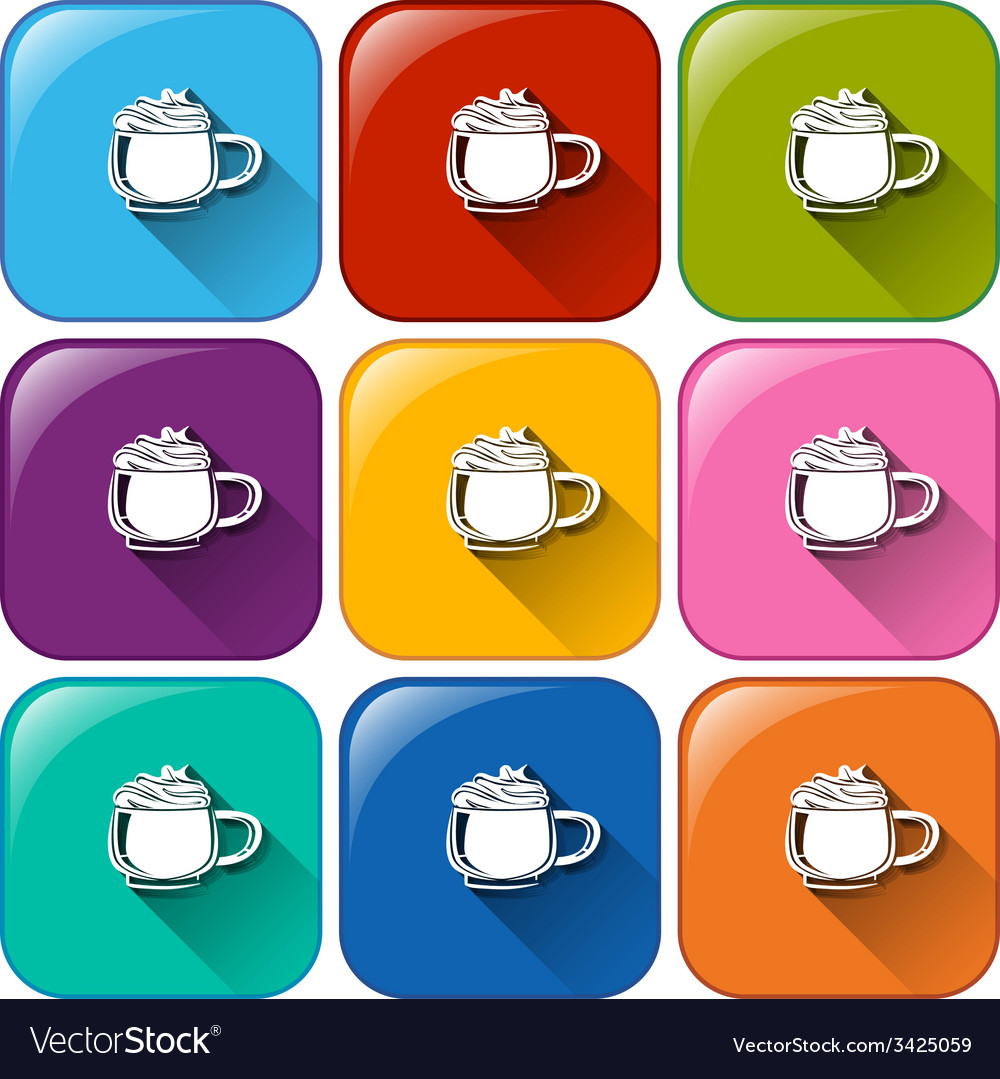 Colourful buttons with mugs of frozen coffee vector | Price: 1 Credit (USD $1)