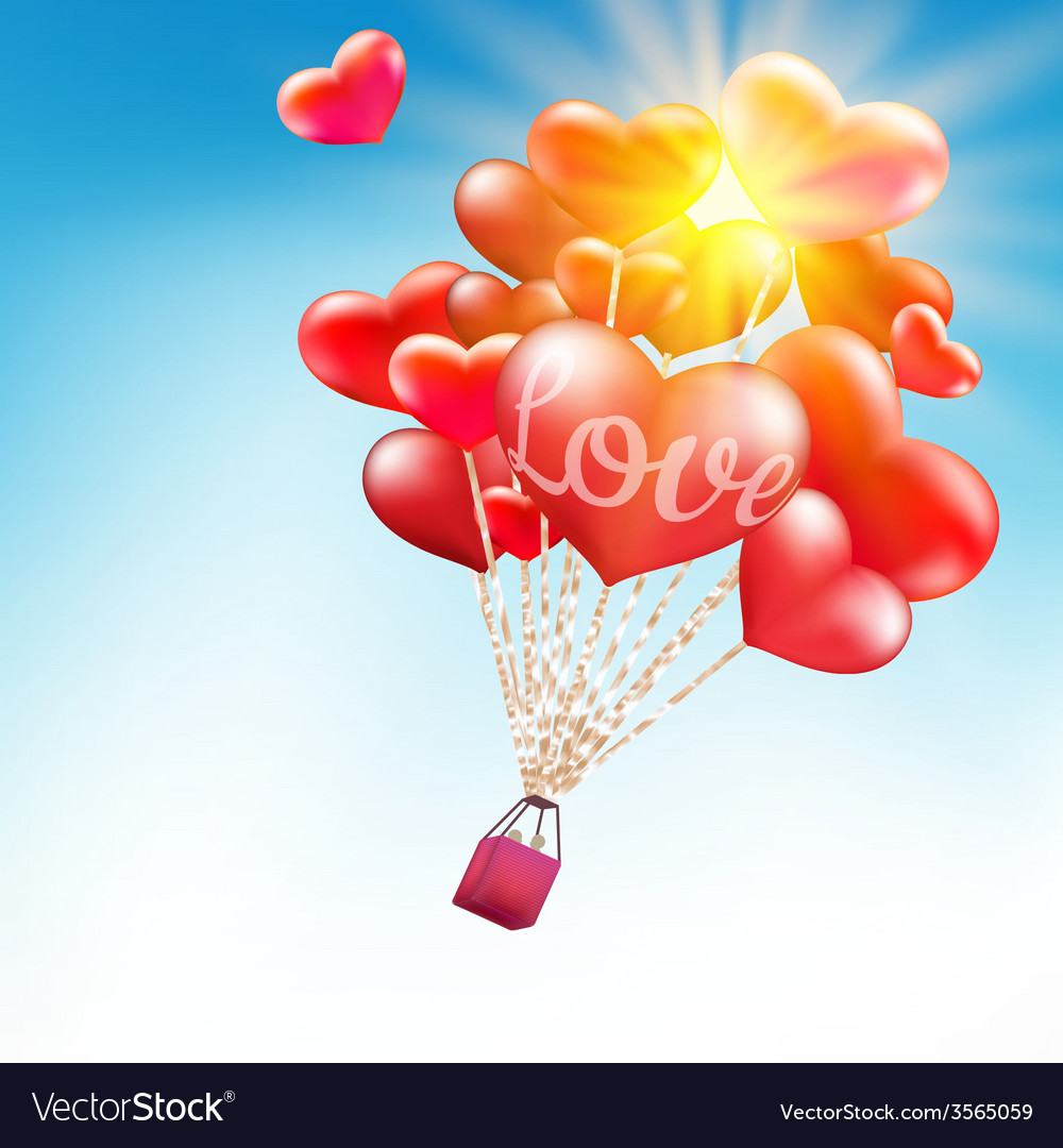 Couple in hot air hearts balloons eps 10 vector | Price: 3 Credit (USD $3)