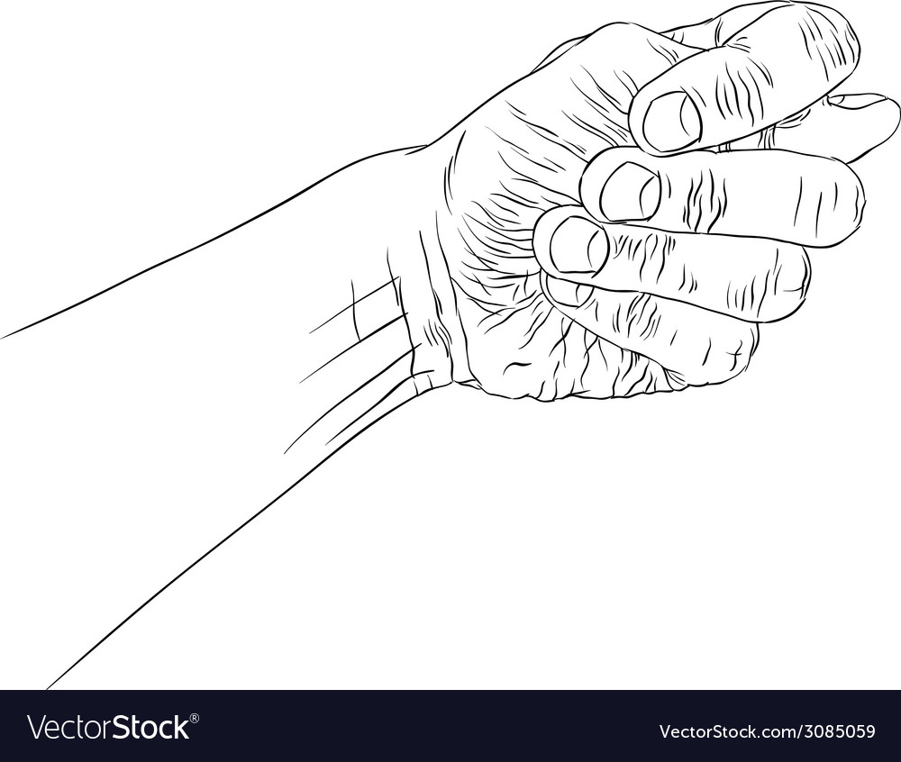 Fig fico hand sign detailed black and white lines vector | Price: 1 Credit (USD $1)