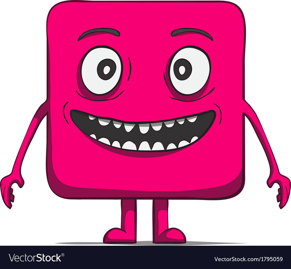 Funny cube dude square character vector | Price: 1 Credit (USD $1)