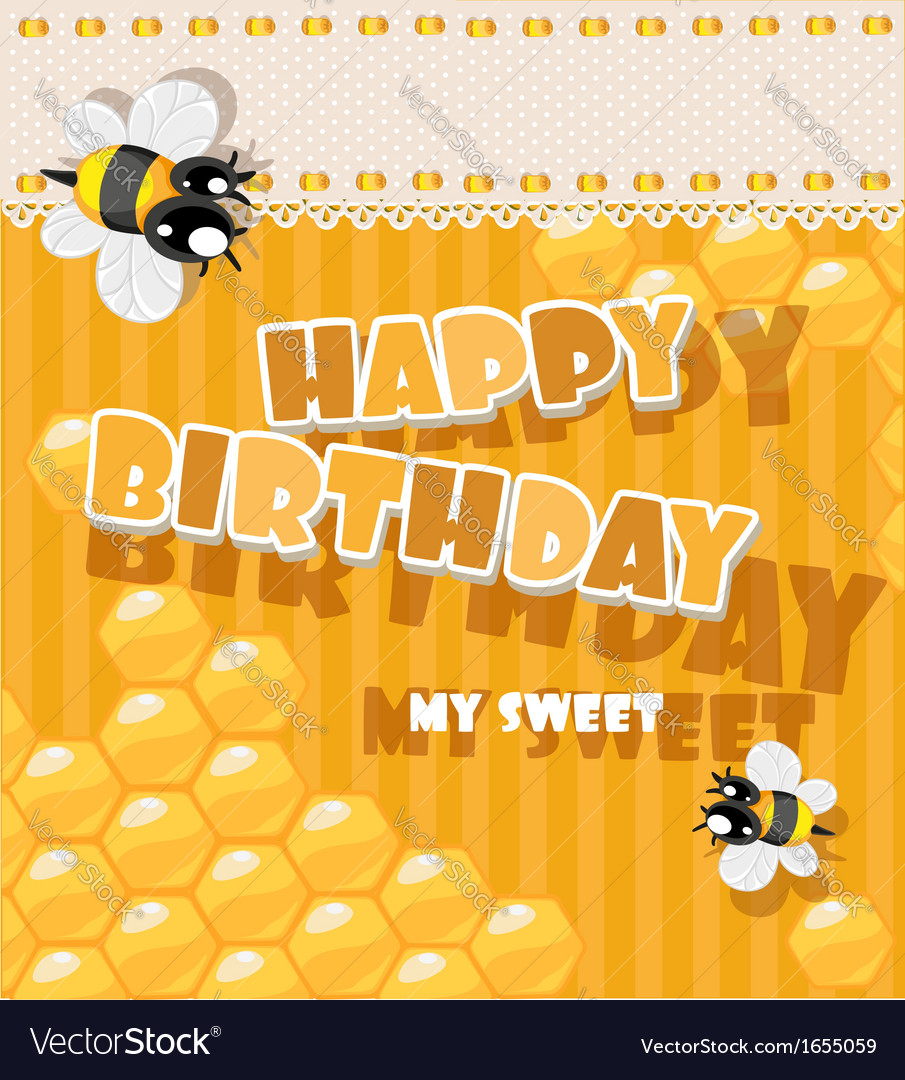 Happy birthday to my sweet - card vector | Price: 1 Credit (USD $1)