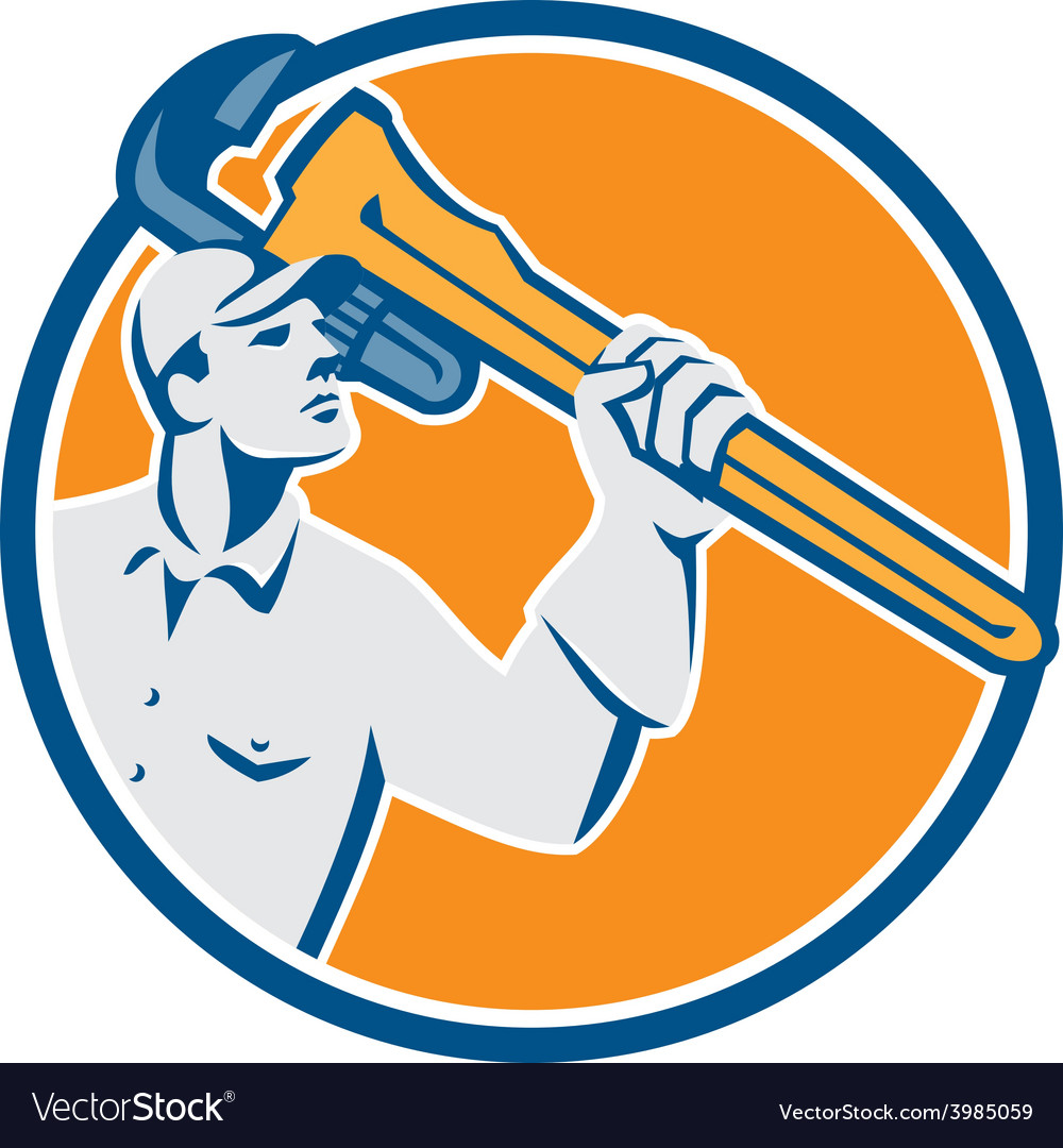 Plumber wielding monkey wrench circle retro vector   Price: 1 Credit (USD $1)
