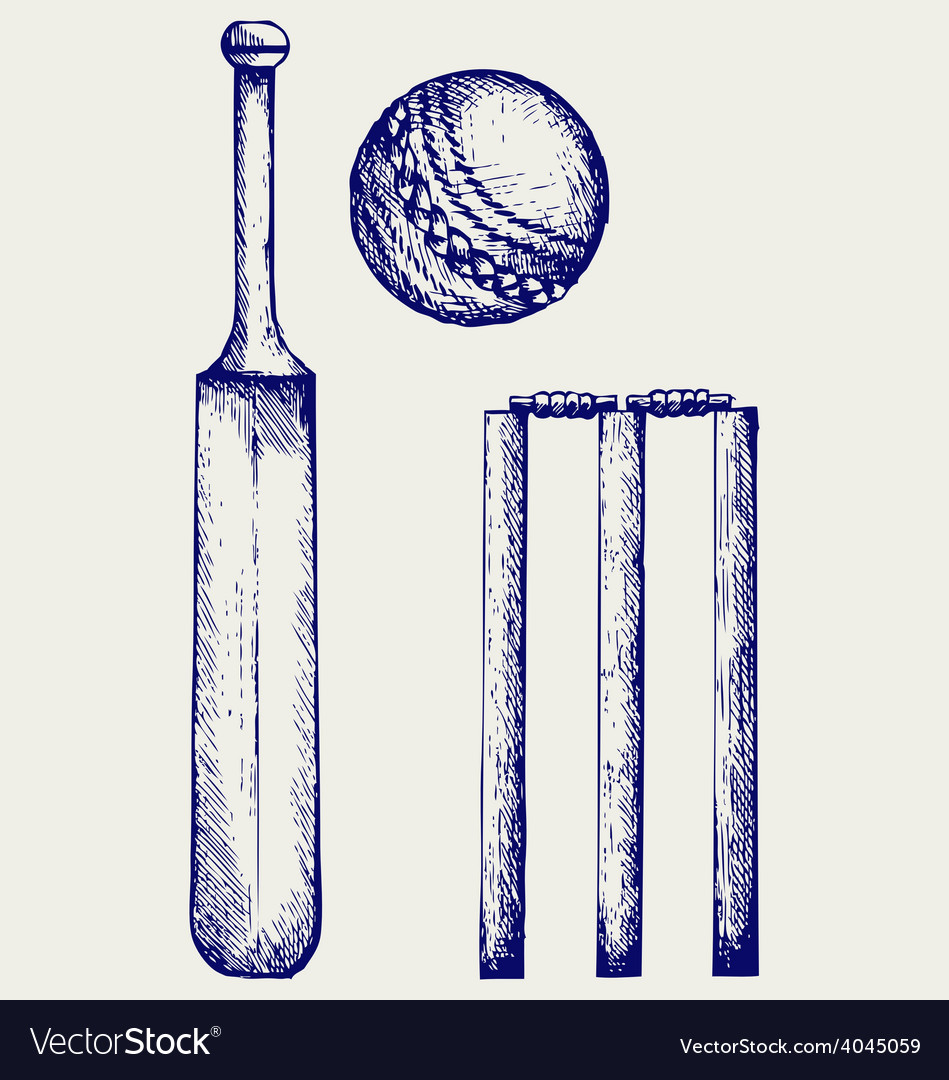 Set equipment for cricket vector | Price: 1 Credit (USD $1)